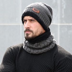 Other - Gray Cable Knit Beanie & Ring Scarf Fleece Lining